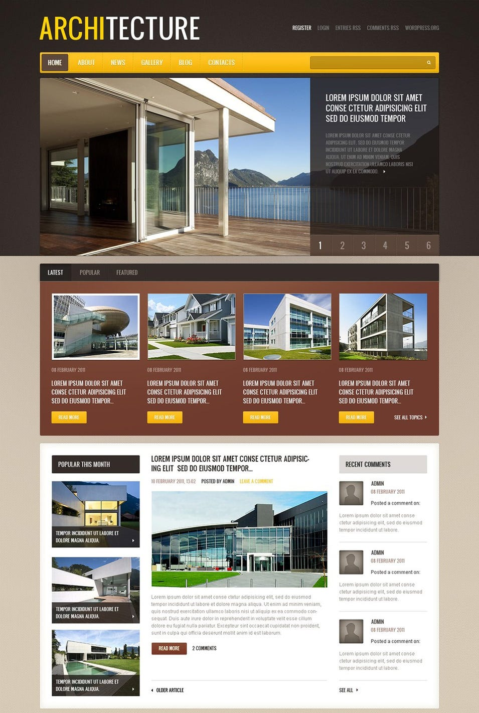 30 best wordpress themes templates for architects free for Architecture wordpress