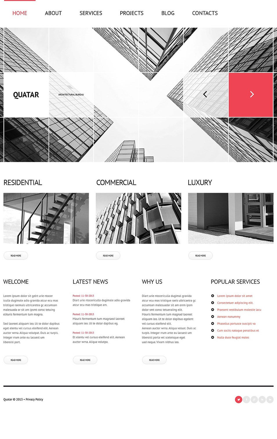 30 best wordpress themes templates for architects free for Architectural websites