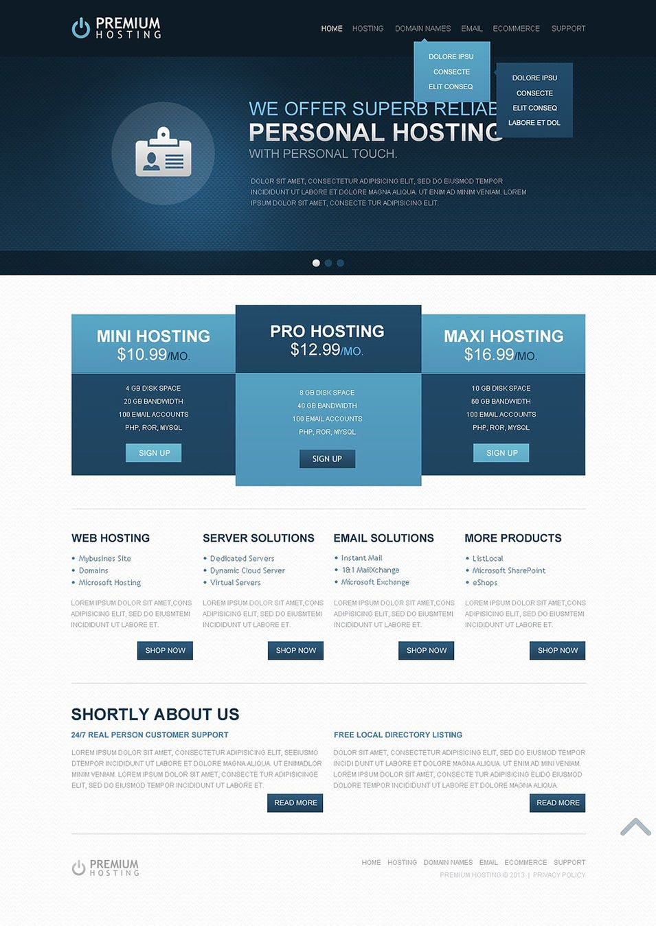 Hosting website template free download webthemez.