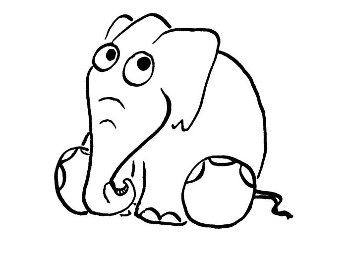 Sitting Elephant Template Coloring Page