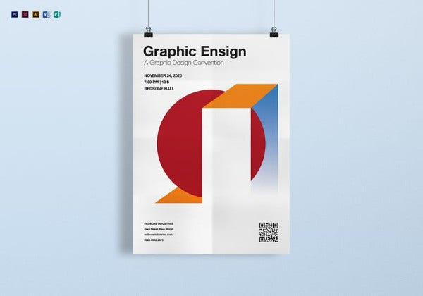 a4 graphic ensign poster template in psd
