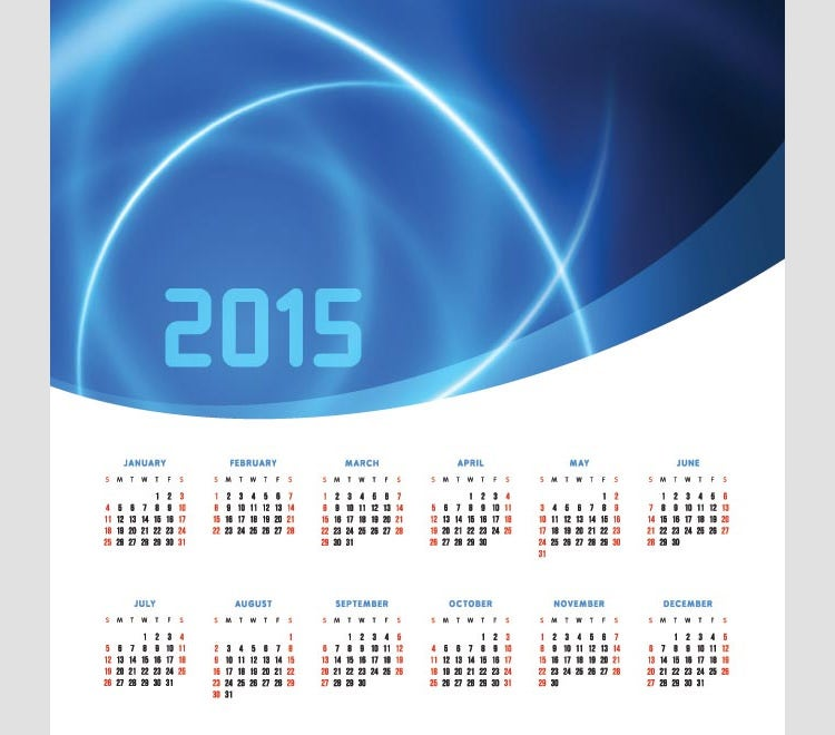 abstract blue light background 2015 vector calendar template
