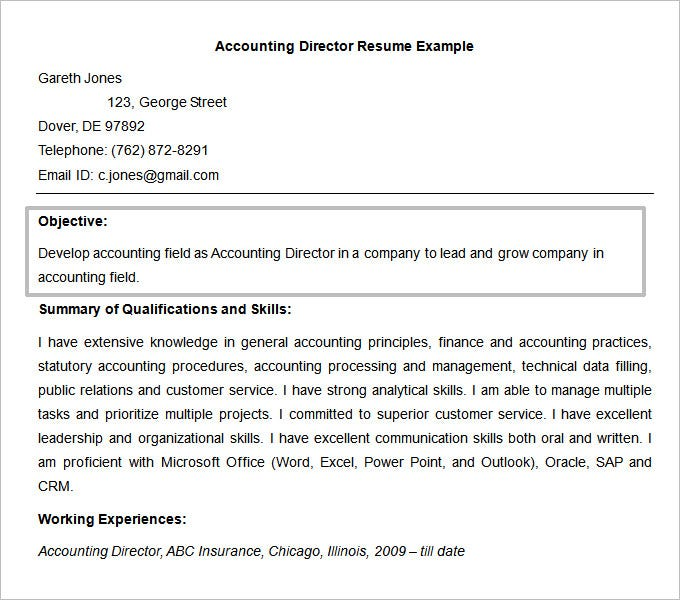 Accounting Director Resume Objective Template