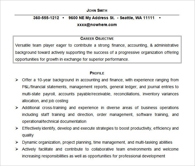 free doc accounting resume objective template - Resume Objectives For Management Positions