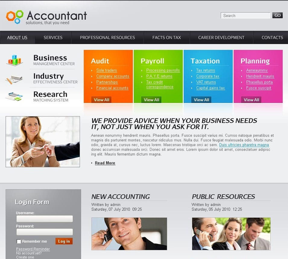 accounting website joomla templa