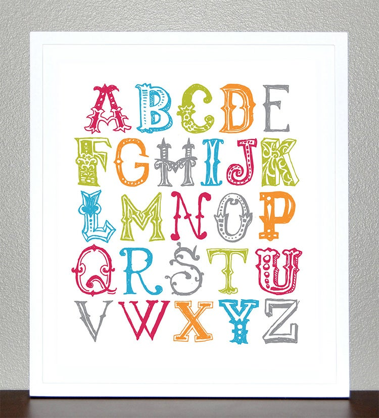 alphabet poster 8x10 funky letters