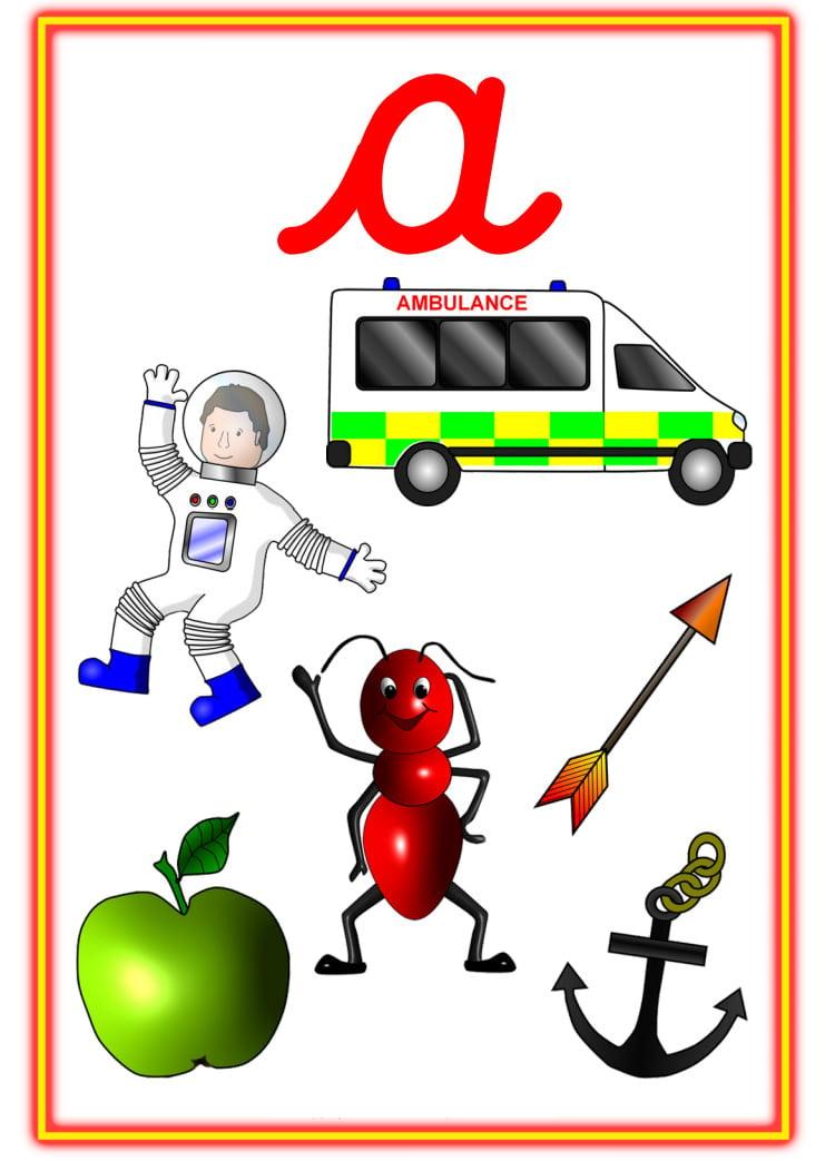 alphabet picture posters lowercase cursive