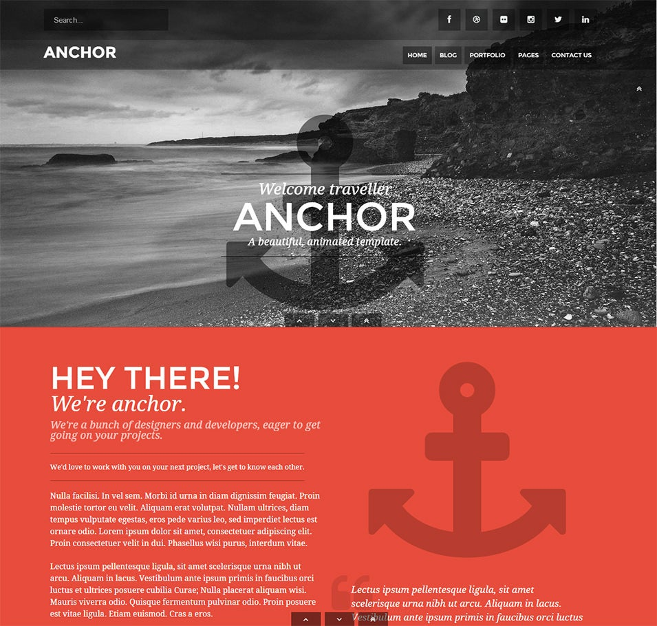 anchor animated parallax drupal theme