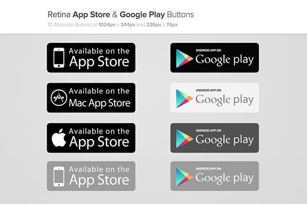 App Store & Google Play Buttons x2