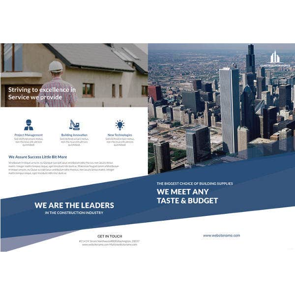 Architecture brochure template 43 free psd pdf eps for Bi fold brochure template indesign free