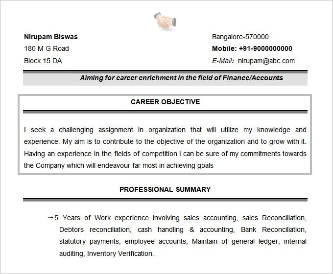 Resume Objectives 47 Free Sample Example
