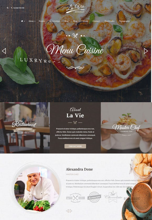 bar cafe responsive wordpress theme