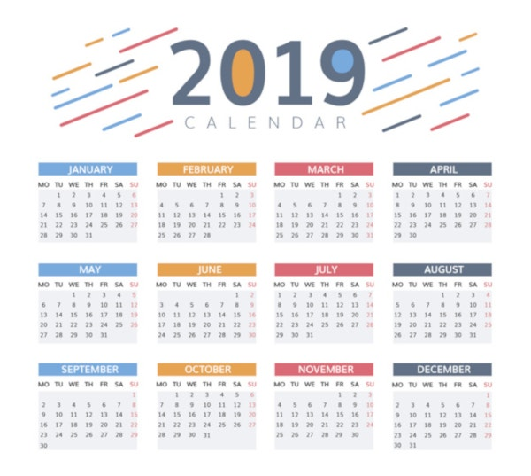 beautiful 2019 calendar design