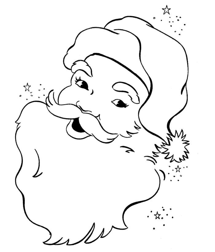 beautiful santa head coloring page