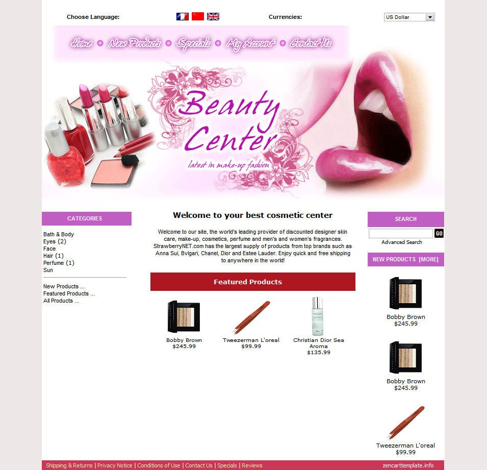 Beauty Zen Cart Template