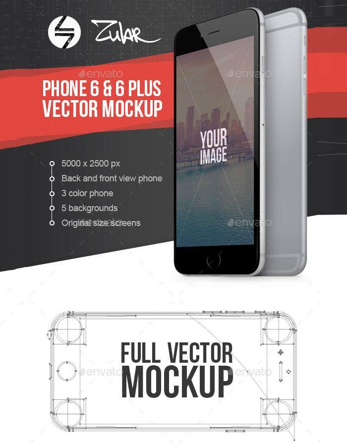 best phone 6 6 plus vector mockup