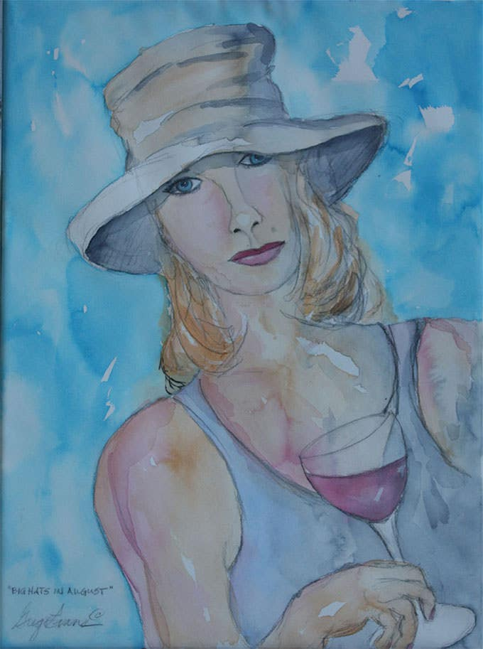 big hats figurative painting