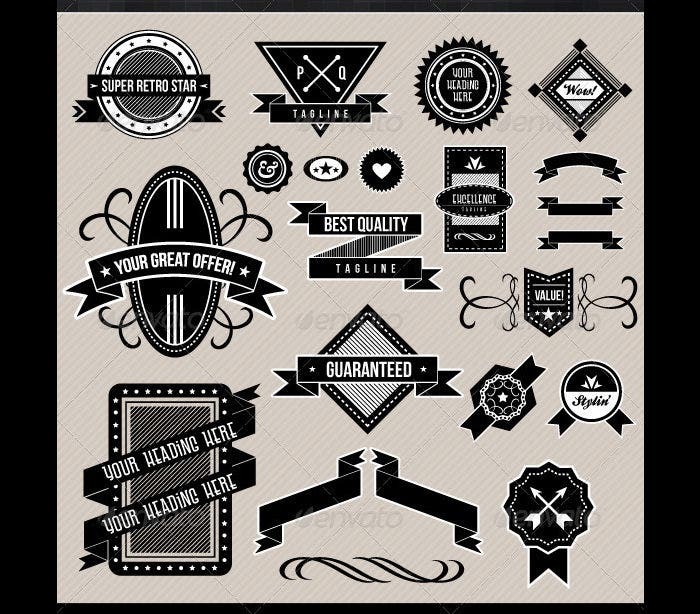 Black and White Retro Badges and Design Elements