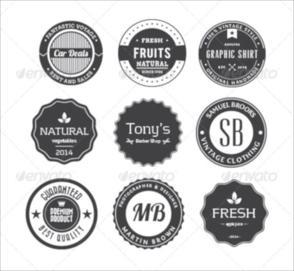 black and white retro badges and design elements2