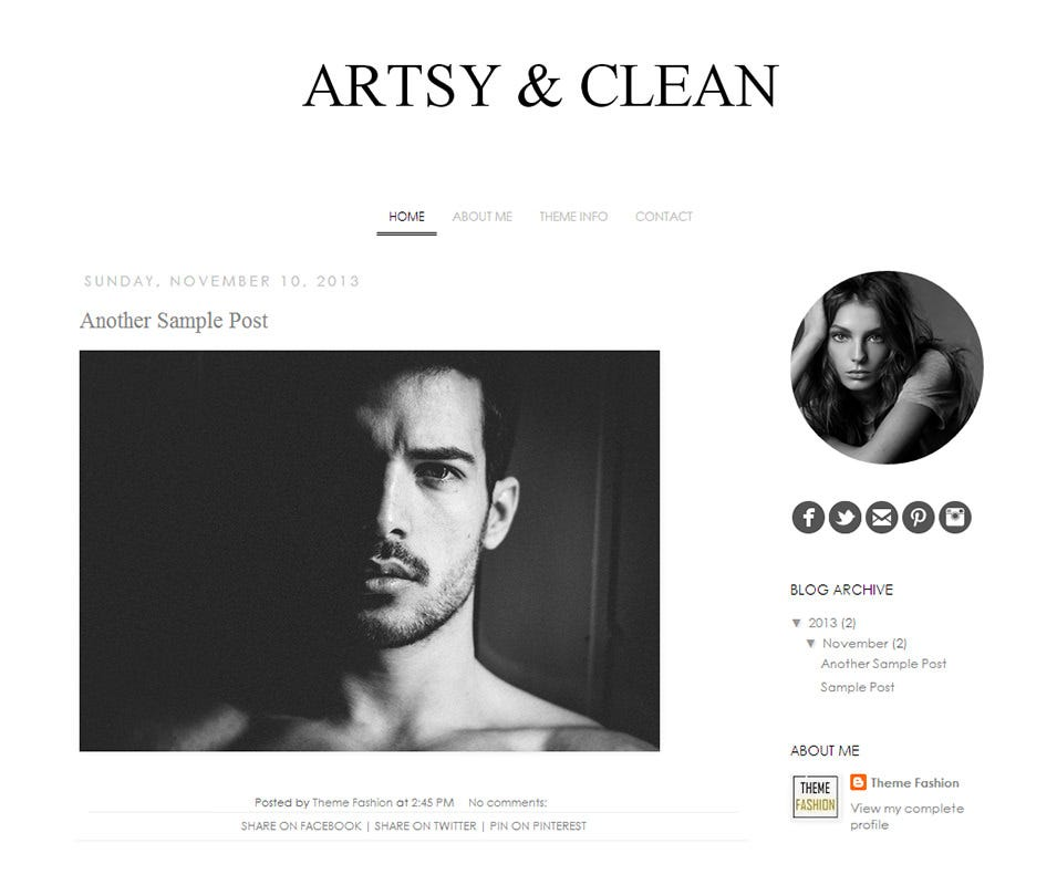 Artsy And Clean Designer Blogger Template