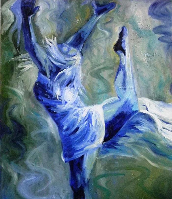 blue green expressionist oil painting