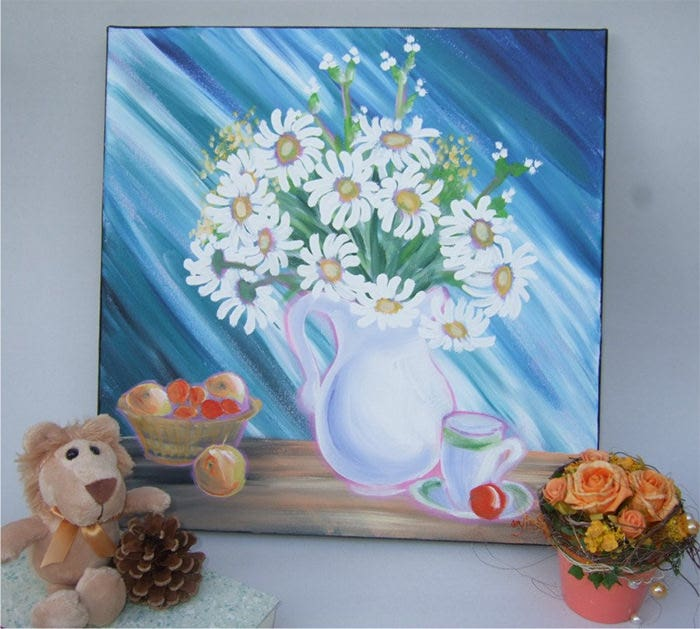 blue still life with daisies expressionist painting