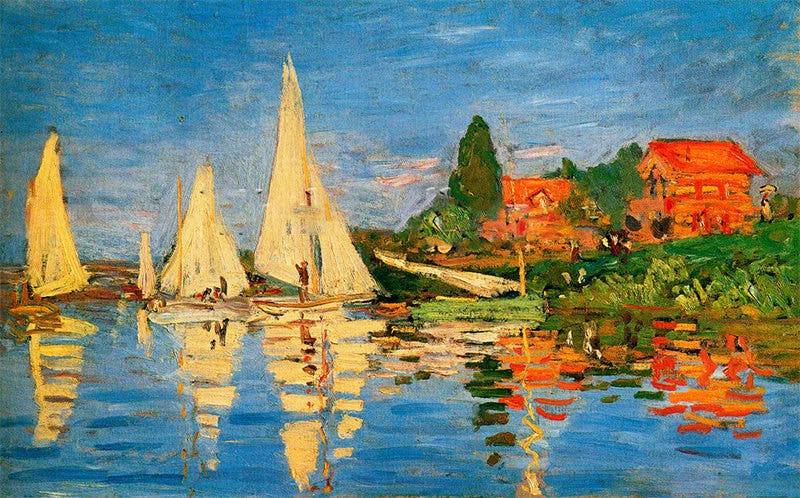 boating at argenteuil art print by claude monet