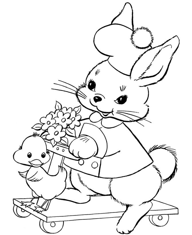 bunny with little duck coloring page