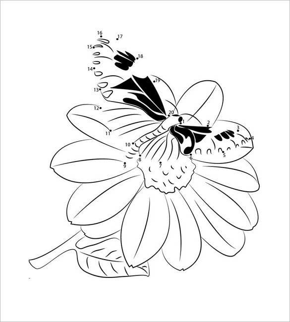 butterfly on flower template