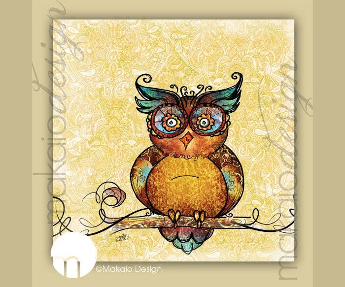 christmas sale whimsical owl illustration