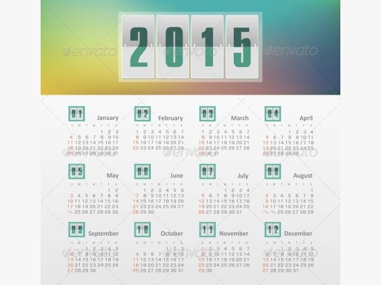 calendar 2015 year with gradient