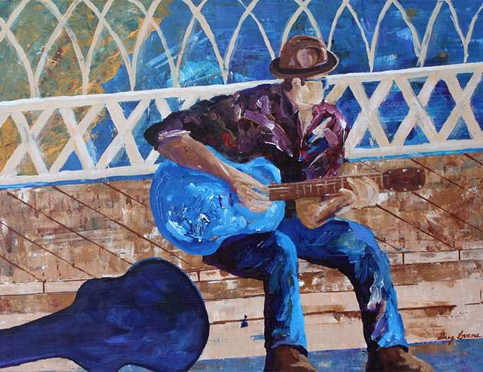 chattanooga bridge blues figurative painting
