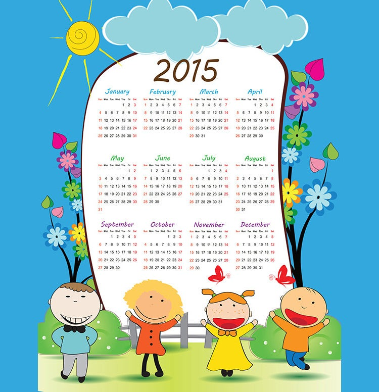 childrens calendar for 2015