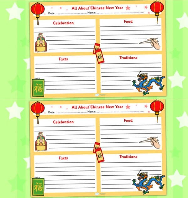 chinese new year writing template