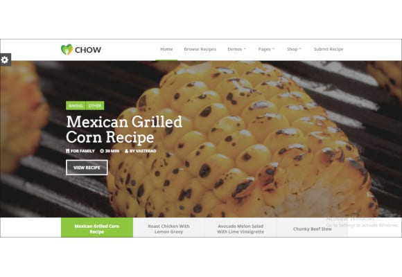 chow recipe food wordpress theme