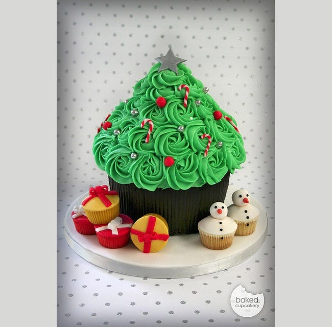 christmas tree with cake