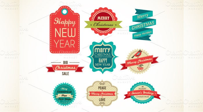 christmas vintage labels elements
