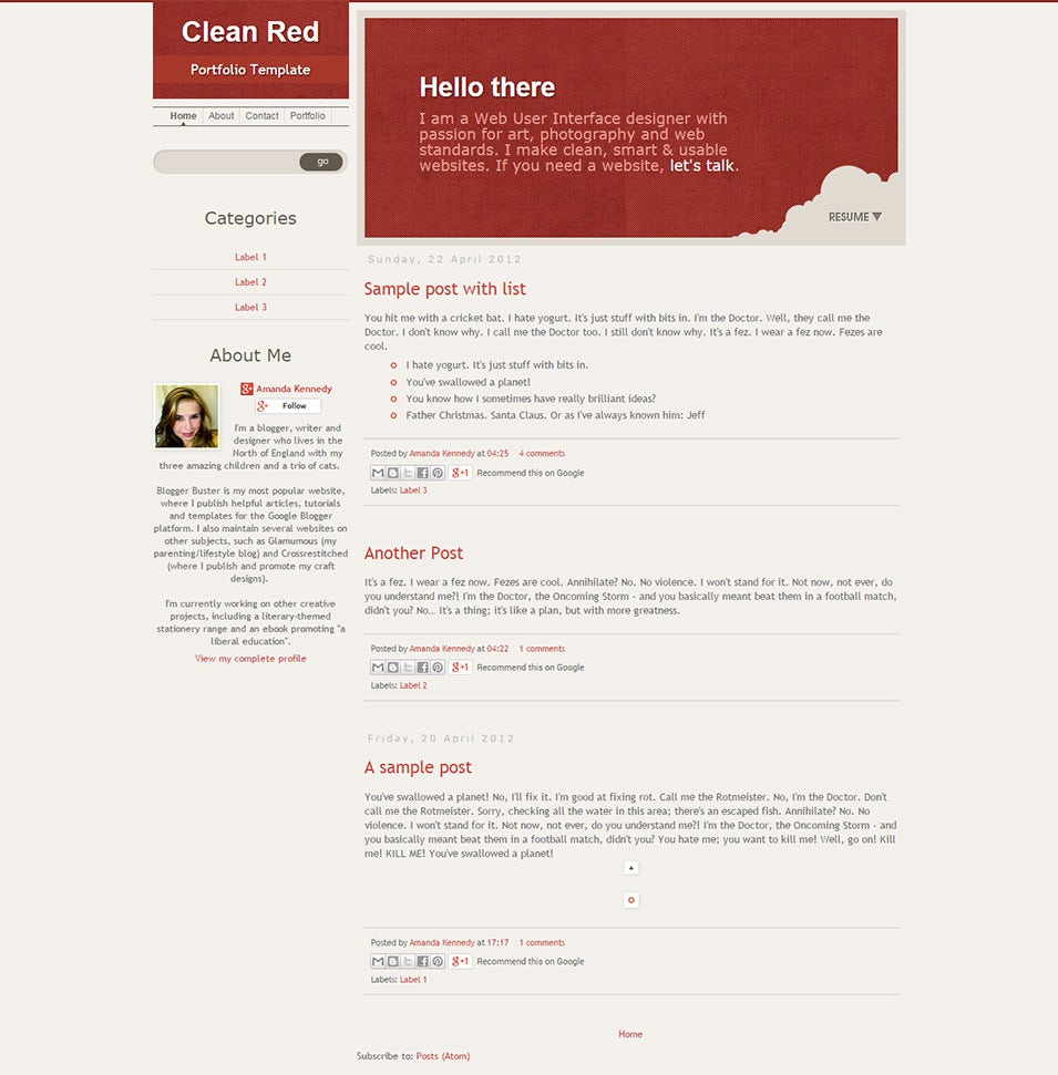 cleanred is a portfolio style template