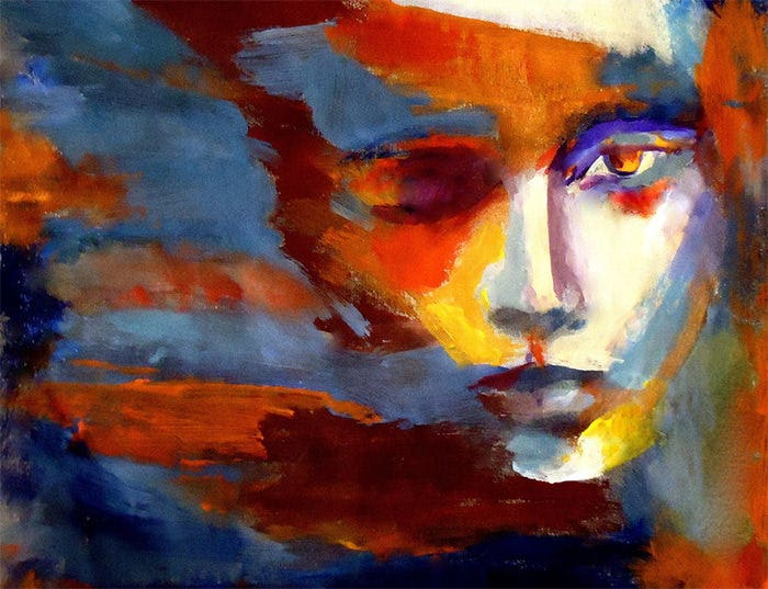 colorful expressionist portrait of a woman