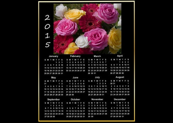 colourful flowers 2015 calendar