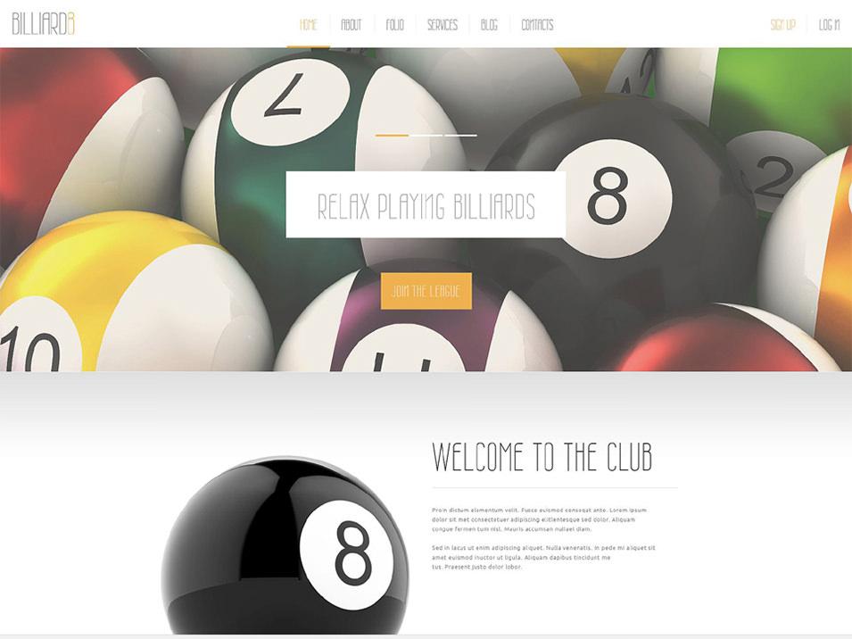 comfortable billiard club joomla template