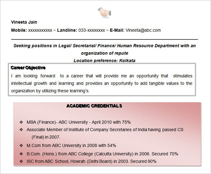 free doc company secretary cum mba finance resume objective template