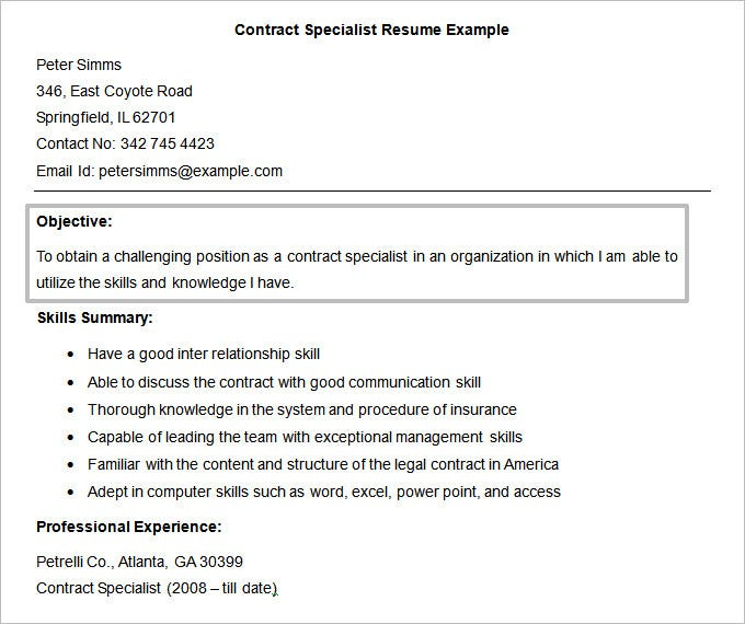 Sample Resume For Contract Specialist - Template