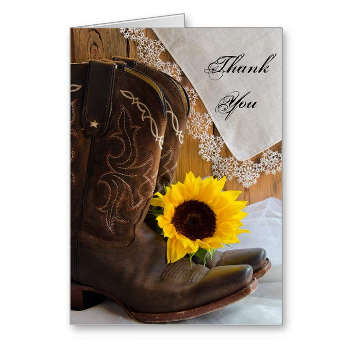 Country Sunflower Thank You Note Card