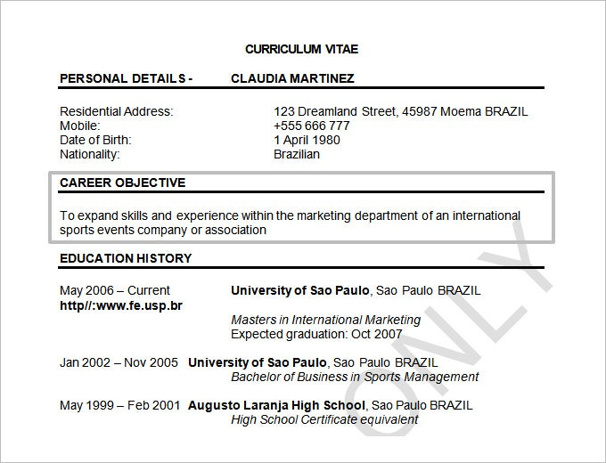 resume objectives 46 free sample example format download free