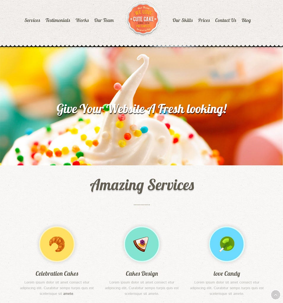 cute cake responsive one page wordpress theme