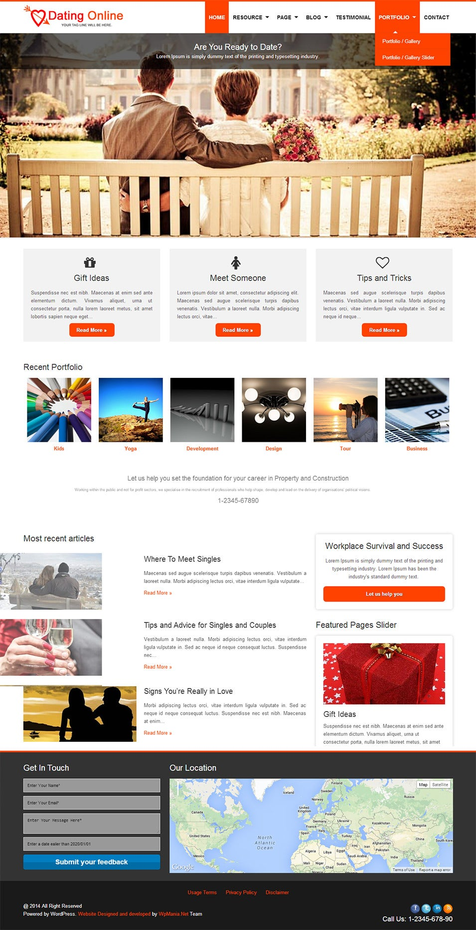 free dating website theme