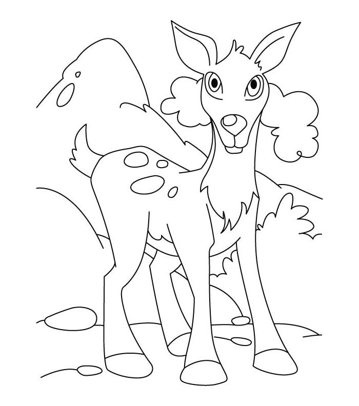 deer pose coloring page