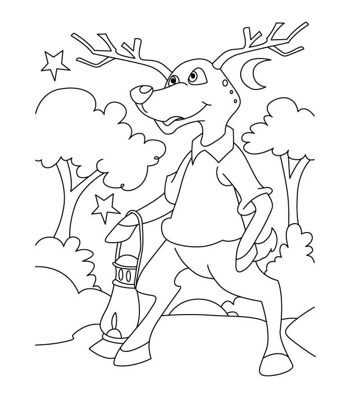 deer in dark coloring page