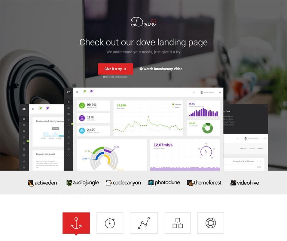 dove modern startup landing page